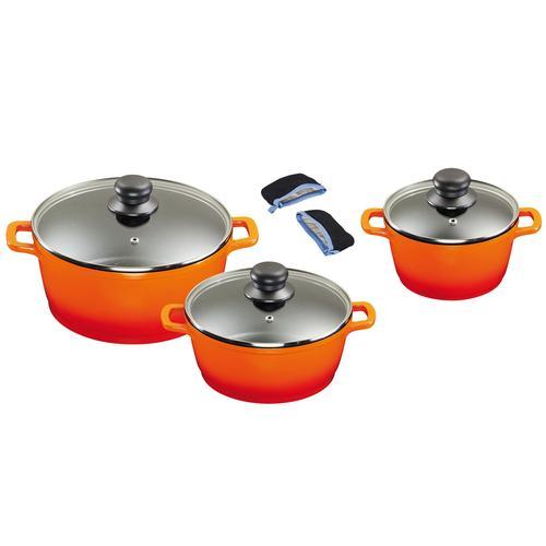 KING Topf-Set, Aluminiumguss, (Set, 8 tlg.), mit gratis Henkelpads orange Topfsets Töpfe Haushaltswaren Topf-Set