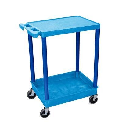 """Luxor BUSTC21BU Multipurpose Cart w/ Tub & Flat Shelf, 24x18x35 1/2"""", Polyethylene, Blue"""