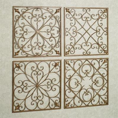 Lachandra Satin Gold Square Wall Grille Set Set of Four, Set of Four, Satin Gold