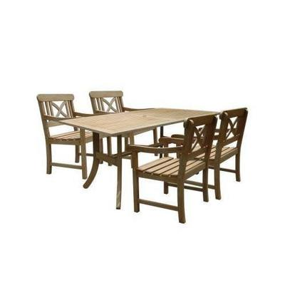 VIFAH Renaissance Acacia 5-Piece Patio Dining Set with 35 in. W Table and Cross-Back Armchairs