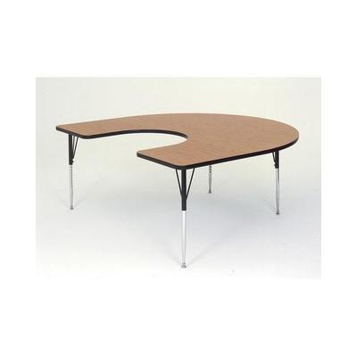 Correll Horseshoe-Shaped Activity Table - Oak, 60x66