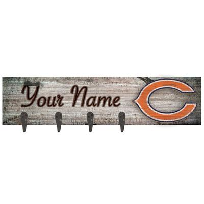 """Chicago Bears 24"""" x 6"""" Personalized Mounted Coat Hanger"""