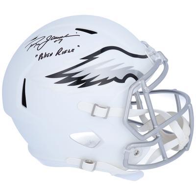 "Autographed Philadelphia Eagles Ron Jaworski Fanatics Authentic Riddell Flat White Alternate Revolution Speed Replica Helmet with ""Polish Rifle"" Inscription"