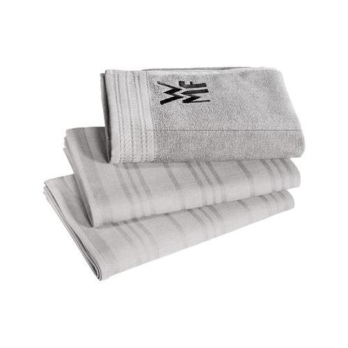WMF Geschirrtuch, (Set, 3 tlg.), 100% Baumwolle, mit aufgesticktem Logo grau Geschirrtücher Küchenhelfer Haushaltswaren Geschirrtuch