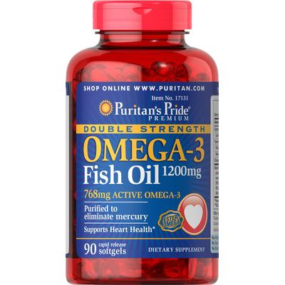 Puritan's Pride 2 Pack of Double Strength Omega-3 Fish Oil 1200mg-90-Softgels