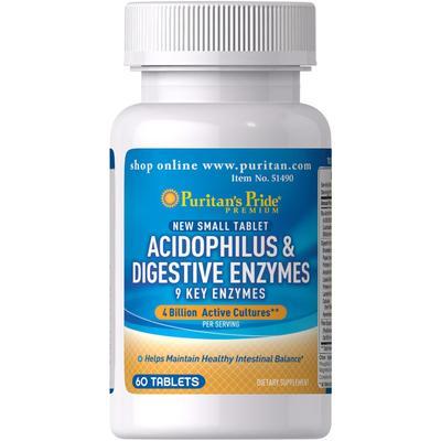 Puritan's Pride 2 Pack of Acidophilus & Digestive Enzymes-60-Tablets