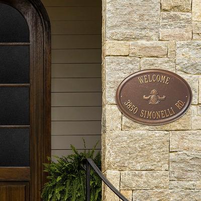 Designer Oval Wall Address Plaque - Bronze/Gold Plaque with Monogram, 2 Lines, Standard - Frontgate