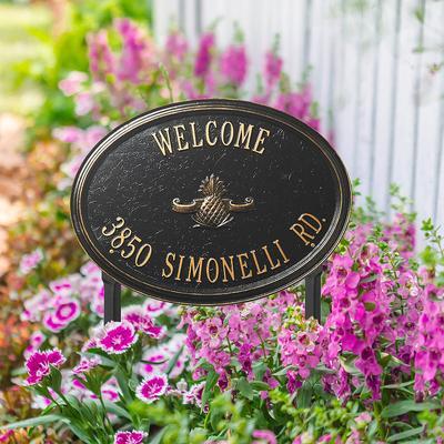 Designer Oval Lawn Address Plaque - Black/Gold Plaque with Fleur-de-Lis, 1 Line, Standard - Frontgate