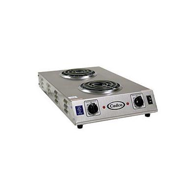 """Cadco 120V Counter Hot Plate With Double Burner & 6"""" Tubular Elements (CDR-1TFB) - Stainless Steel"""