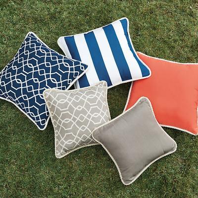 Corded Pillow 12 inch x 20 inch Canvas Taupe Sunbrella - Ballard Designs