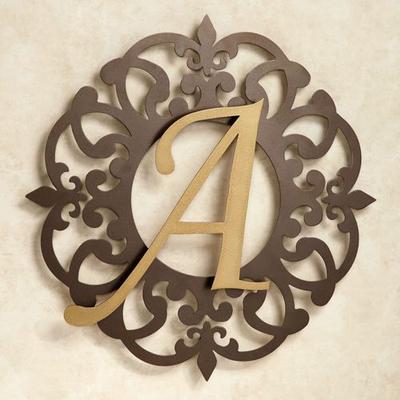 Heritage Monogram Metal Wall Art Sign Gold/Bronze, Letter W, Gold/Bronze