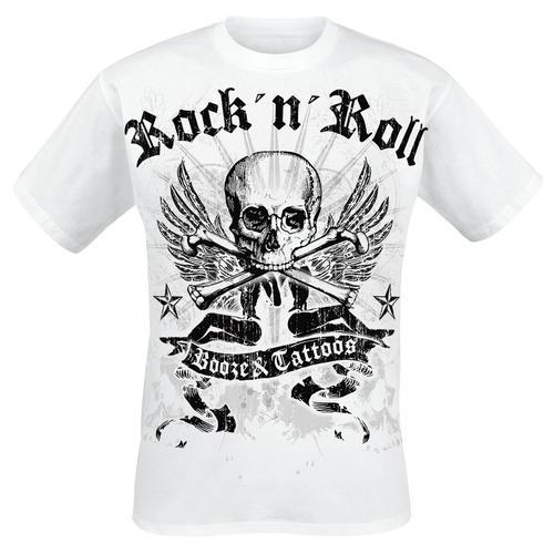 Booze & Tattoos Herren-T-Shirt - weiß