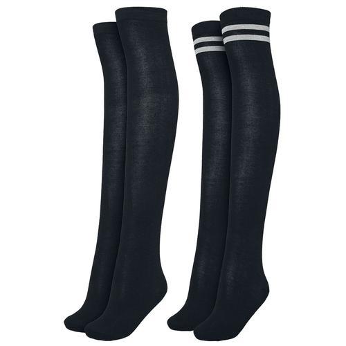 Urban Classics Ladies Overknee Socks 2-Pack Damen-Kniestrümpfe - schwarz schwarz grau