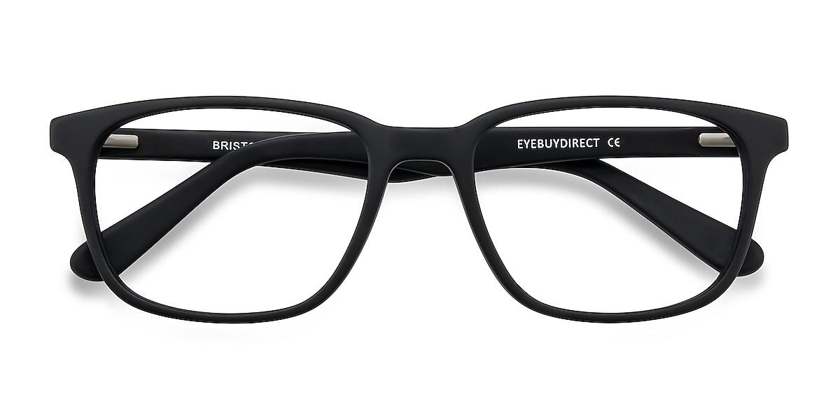 Unisex Rectangle Matte Black Acetate Prescription eyeglasses - EyeBuydirect's Bristol