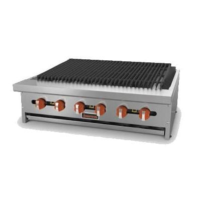 "Sierra Range SRRB-48 48"" Radiant Charbroiler, 8 Burners, Manual Controls"