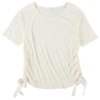 Love & Promises Womens Rib Tie Side Short Sleeve Shirt