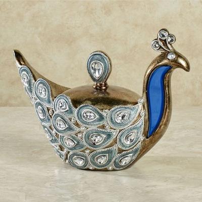 Feathered Splendor Covered Box Blue , Blue
