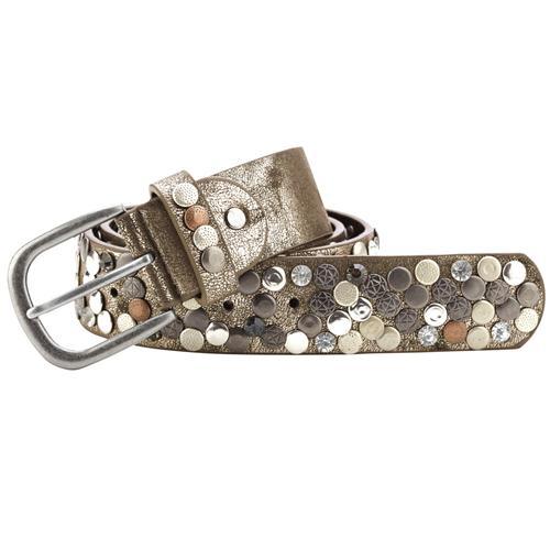 heine Nietengürtel, mit Metallnieten braun Damen Ledergürtel Gürtel Accessoires Nietengürtel