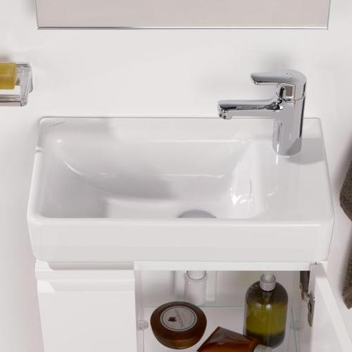 Laufen Pro S Handwaschbecken B: 48 T: 28 cm, asymmetrisch weiß, mit 1 Hahnloch H8159540001041