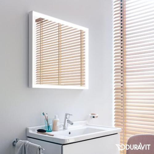 Duravit L-Cube Spiegel mit LED-Beleuchtung B: 80 H: 70 cm ohne Spiegelheizung LC738100000, EEK: A+