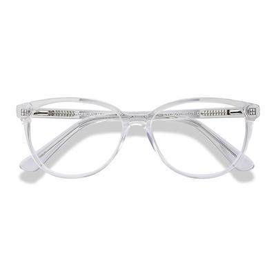 Female's Horn Clear Acetate Prescription eyeglasses - EyeBuydirect's Hepburn