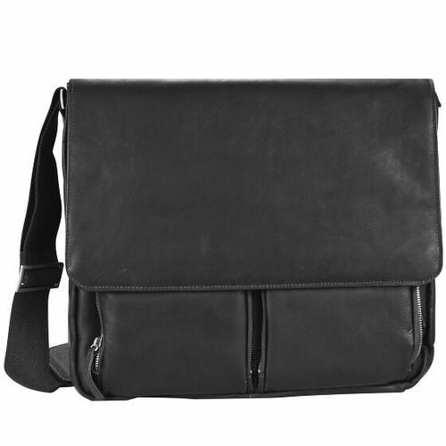 Dermata Messenger Leder 40 cm Laptopfach schwarz