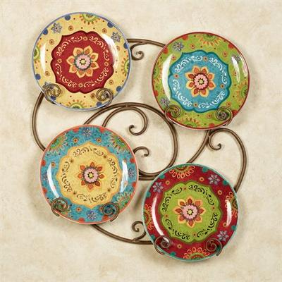 Tunisian Sunset Dinner Plates Multi Jewel Set of Four, Set of Four, Multi Jewel