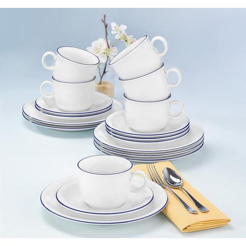 Seltmann Weiden Kaffeeservice Compact Blaurand, (Set, 18 tlg.), Spülmaschinengeeignet weiß Geschirr-Sets Geschirr, Porzellan Tischaccessoires Haushaltswaren