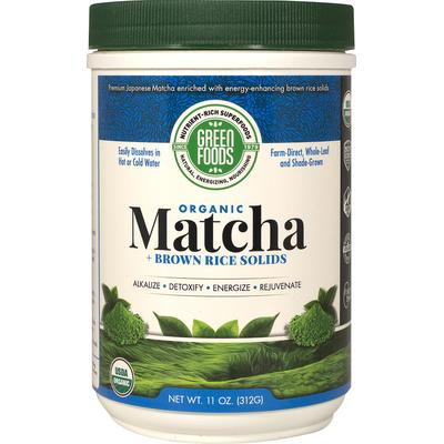 Green Foods Organic Matcha + Brown Rice Solids-11 oz Powder