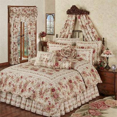 Heirloom Rose Quilt Set Fawn, King, Fawn