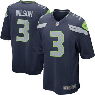 Nike Mens Seattle Seahawks Russell Wilson Nike College Navy Game Jersey
