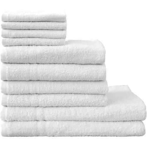 Dyckhoff Handtuch Set Kristall, mit feiner Bordüre weiß Handtuch-Sets Handtücher Badetücher