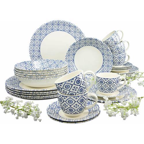 CreaTable Kombiservice ORIENTAL BLUE, (Set, 30 tlg.), traditionelles Dekor beige Geschirr-Sets Geschirr, Porzellan Tischaccessoires Haushaltswaren