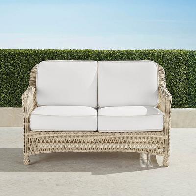 Hampton Loveseat with Cushions in Ivory Finish - Rain Dove , Custom Sunbrella Rain, Special Order - Frontgate