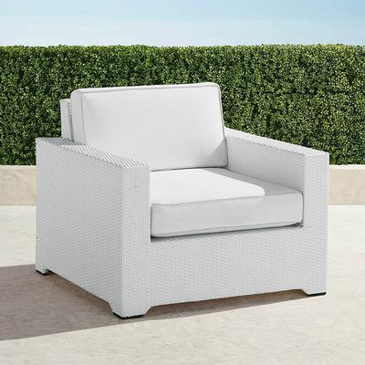 Palermo Lounge Chair with Cushions in White Finish - Rain Cobalt, Custom Sunbrella Rain, Special Order - Frontgate