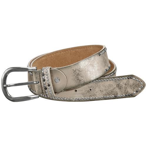 heine Nietengürtel, mit Metallic-Finish goldfarben Damen Ledergürtel Gürtel Accessoires Nietengürtel