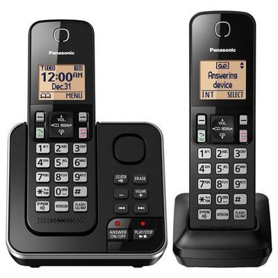 Panasonic KX-TGC362B 2 Handset Cordless Phone with 17 Minute Digital Answering System