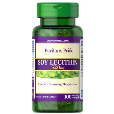 Puritan's Pride Soy Lecithin 520 mg-100 Rapid Release Softgels