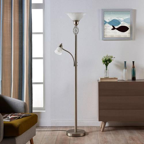 Nickelfarbene LED-Stehlampe Dunja mit Leselampe