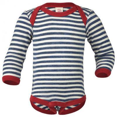 Engel - Baby Body L/S Merinowolle - Merinounterwäsche Gr 50/56 grau/weiß/blau