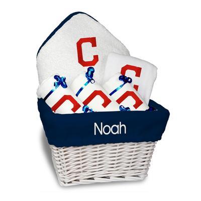 Cleveland Indians Newborn & Infant Personalized Medium Gift Basket - White