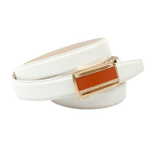 Anthoni Crown Ledergürtel, Damengürtel mit Glas-Schließe in orange weiß Damen Ledergürtel Gürtel Accessoires