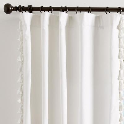 "Tassel Trim Drapery Panel Super White Twill 84"" - Ballard Designs"