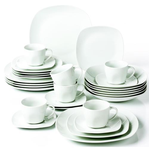 van Well Kombiservice Atrium, (Set, 30 tlg.), Mikrowellengeeignet weiß Geschirr-Sets Geschirr, Porzellan Tischaccessoires Haushaltswaren