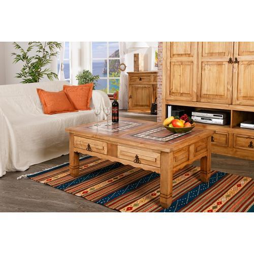 Großer Couchtisch Wohnzimmertisch, Pinie und Marmor, original Mexico Möbel