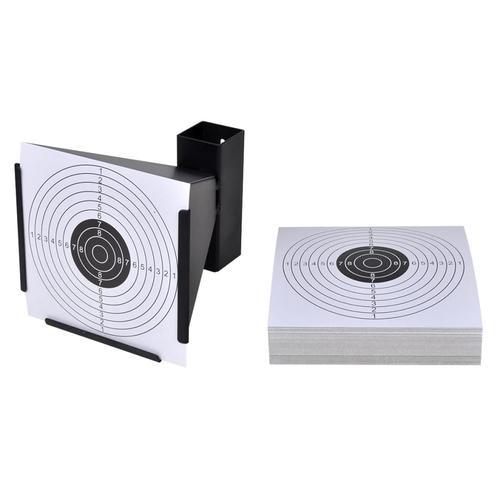 vidaXL Zielscheiben-Halterung Kugelfang 14cm + 100 Papier-Zielscheiben