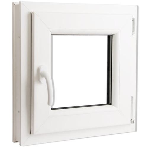 vidaXL 2 Fach Verglast Drehkippfenster PVC linksseitig Griff 500x500mm