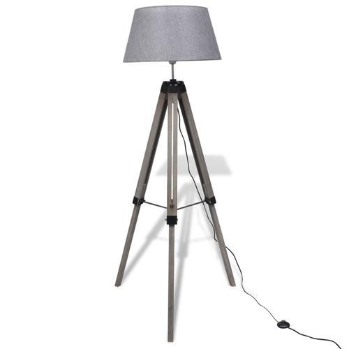 vidaXL Verstellbare Stativ-Stehlampe aus Holz mit Stoffschirm Grau