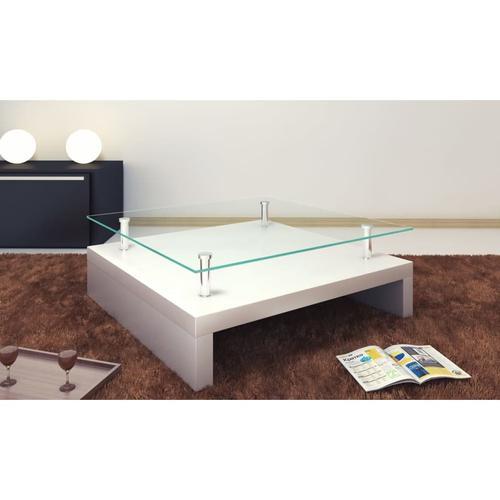 vidaXL Salontisch mit Glasplatte Weiß