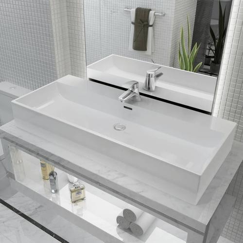 vidaXL Waschbecken mit Hahnloch Keramik Weiß 100 x 42,5 x 14,5 cm